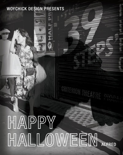 "Poster of a woman being attacked by a large bird with the text ""Woychick Design presents, Happy Halloween, Alfred."""