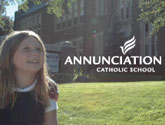 Picture of school girl and Annunciation Catholic School logo.