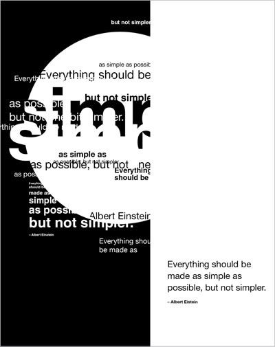 "Poster with the quote: ""Everything should be made as simple as possible, but not one bit simpler."" Albert Einstein"