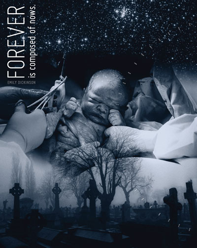 Photo Illustration of a baby being born, a starry sky and a cemetery.
