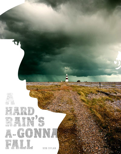 Silhouette of Bob Dylan with stormy lighthouse: A Hard Rain's A-Gonna Fall