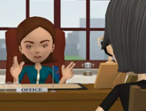 Two people discussing magazine launch in a satiric animated video