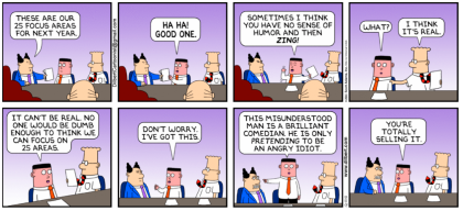 "Dilbert Comic - pointy-haired boss outlining next year's ""areas of focus"""