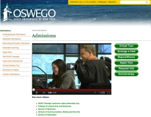 Image of SUNY Oswego admissions landing page