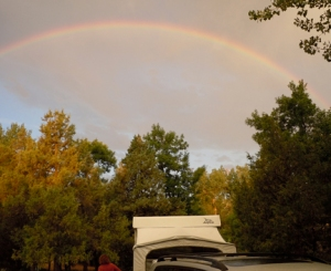 Photo of a rainbow over Cottonwood Campground in Teddy Roosevelt National Park