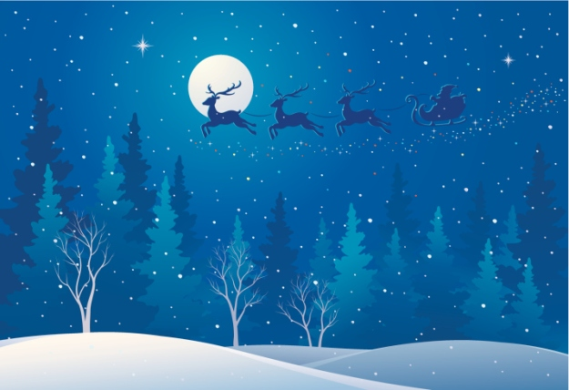 Santa sleigh over blue forest with snow falling at night